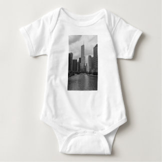 Trump Tower Chicago River Grayscale Baby Bodysuit