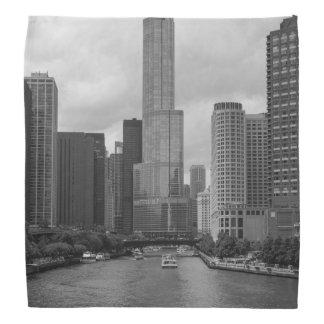 Trump Tower Chicago River Grayscale Bandana