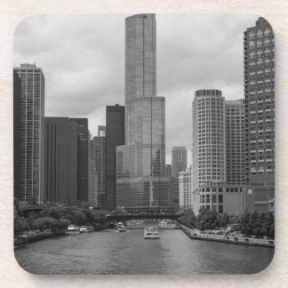 Trump Tower Chicago River Grayscale Beverage Coaster