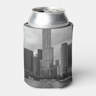 Trump Tower Chicago River Grayscale Can Cooler