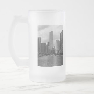 Trump Tower Chicago River Grayscale Frosted Glass Beer Mug