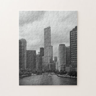 Trump Tower Chicago River Grayscale Jigsaw Puzzle