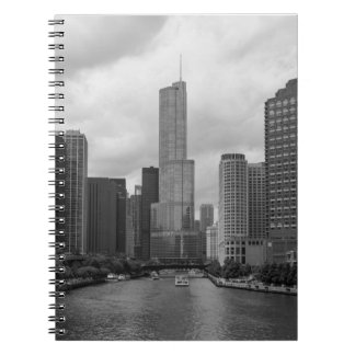 Trump Tower Chicago River Grayscale Notebook
