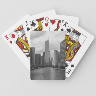 Trump Tower Chicago River Grayscale Playing Cards
