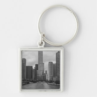 Trump Tower Chicago River Grayscale Silver-Colored Square Key Ring