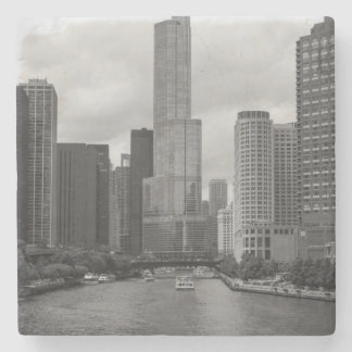 Trump Tower Chicago River Grayscale Stone Beverage Coaster