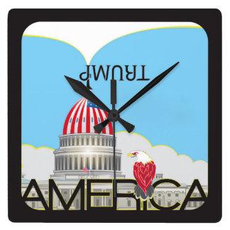 TRUMP Trumpet & US Capitol - day version Square Wall Clock