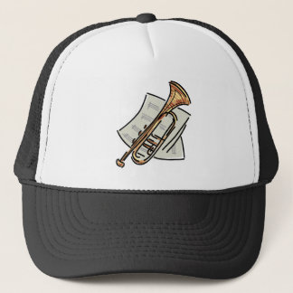 trumpet and sheet music trucker hat