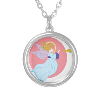 Trumpet Angel Silver Plated Necklace