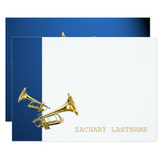 Trumpet Blue Gold Thank You Flat Card