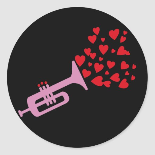 Trumpet Hearts Stickers