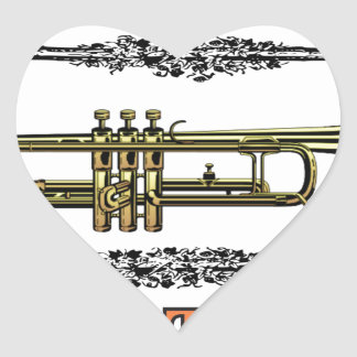 trumpet jazz tool heart sticker