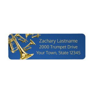 Trumpet Mania Gold and Blue Return Address Label