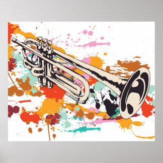 Trumpet music instrument custom print poster