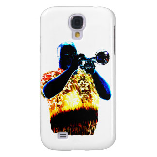 Trumpet Player Blues Orange Red shirt Galaxy S4 Cases