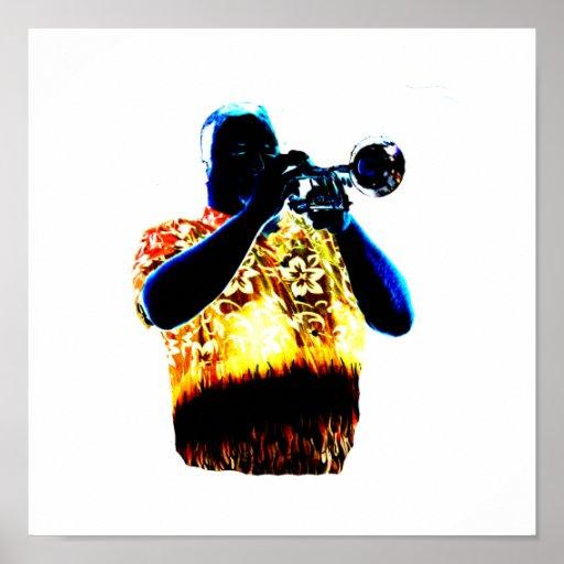 Trumpet Player Blues Orange Red shirt Print