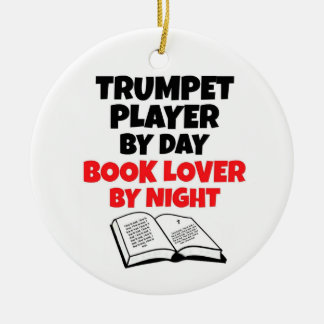 Trumpet Player by Day Book Lover by Night Round Ceramic Decoration