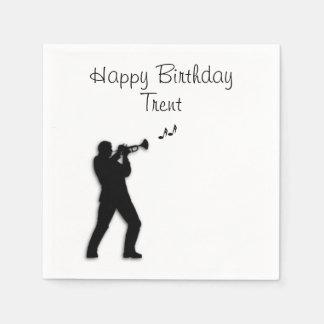 Trumpet Player Custom Birthday Paper Napkin