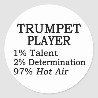 Trumpet Player Hot Air Round Sticker