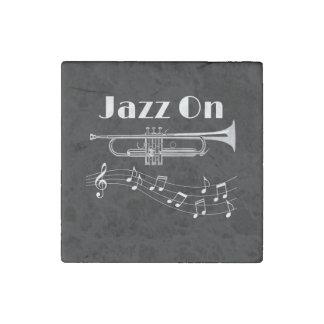 Trumpet Player Jazz On Stone Magnet
