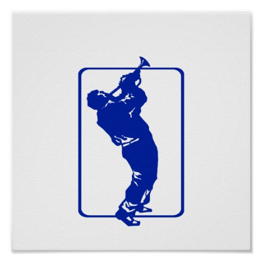 trumpet player outline park n blow blue.png posters