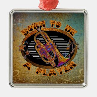 Trumpet Player Silver-Colored Square Decoration