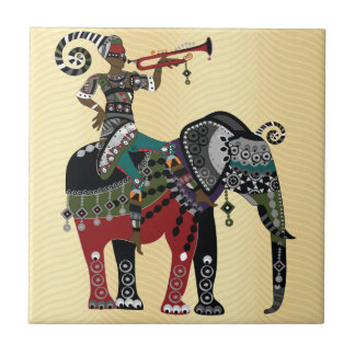Trumpet Player Small Square Tile