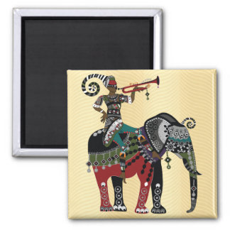 Trumpet Player Square Magnet