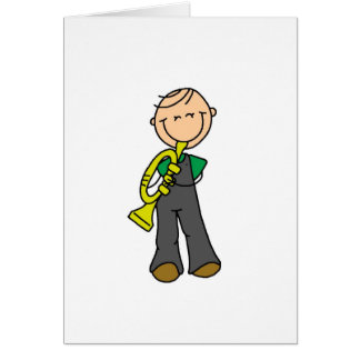 Trumpet Player Stick Figure Card