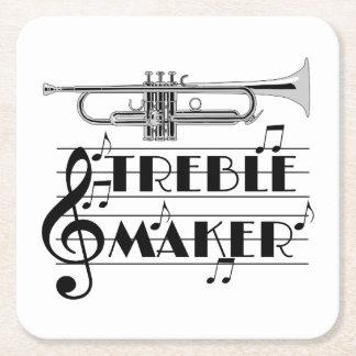 Trumpet Player Treble Maker Square Paper Coaster