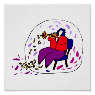 trumpet player wearing red and purple graphic poster