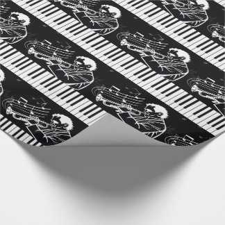 Trumpet Player with Piano Keys and Music Wrapping Paper