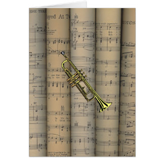 Trumpet ~ Rolled Sheet Music Background ~ Musical Card