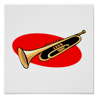 Trumpet Simple Design Red Background Posters