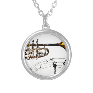 Trumpet Simple Sketch 2 Silver Plated Necklace