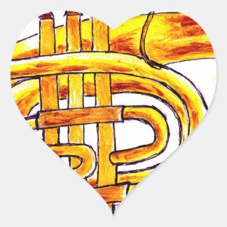 Trumpet Simple Sketch Heart Sticker