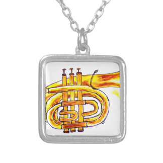 Trumpet Simple Sketch Silver Plated Necklace