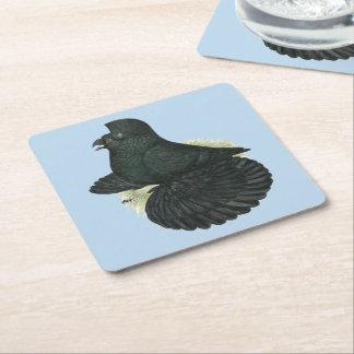 Trumpeter Pigeon Black Square Paper Coaster