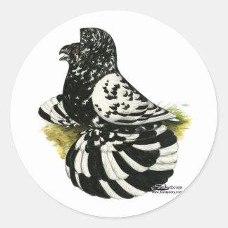 Trumpeter Pigeon Dark Splash Classic Round Sticker