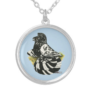 Trumpeter Pigeon Dark Splash Silver Plated Necklace