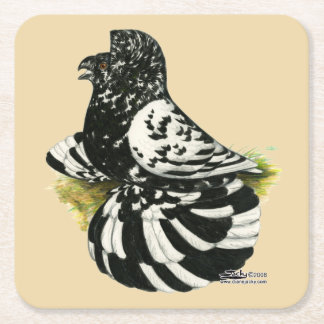 Trumpeter Pigeon Dark Splash Square Paper Coaster