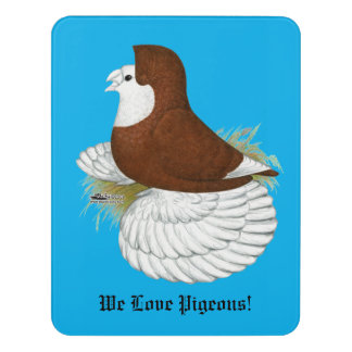 Trumpeter Pigeon Red Baldhead Door Sign