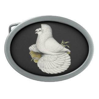 Trumpeter Pigeon White Oval Belt Buckle