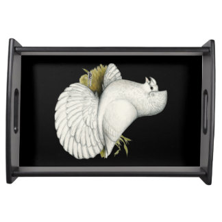 Trumpeter Pigeon White Serving Tray