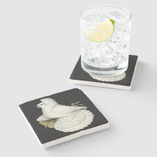 Trumpeter Pigeon White Stone Coaster