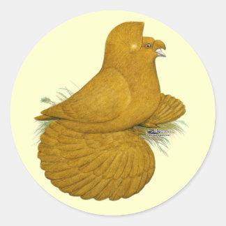 Trumpeter Pigeon Yellow Self Classic Round Sticker