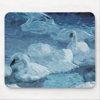 Trumpeter Swans in Winter Abstract Impressionism Mouse Pad