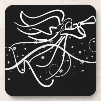 Trumpeting Angel black and white Coaster
