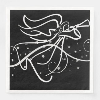 Trumpeting Angel in black and white Disposable Serviette