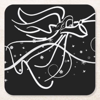 Trumpeting Angel in black and white Square Paper Coaster